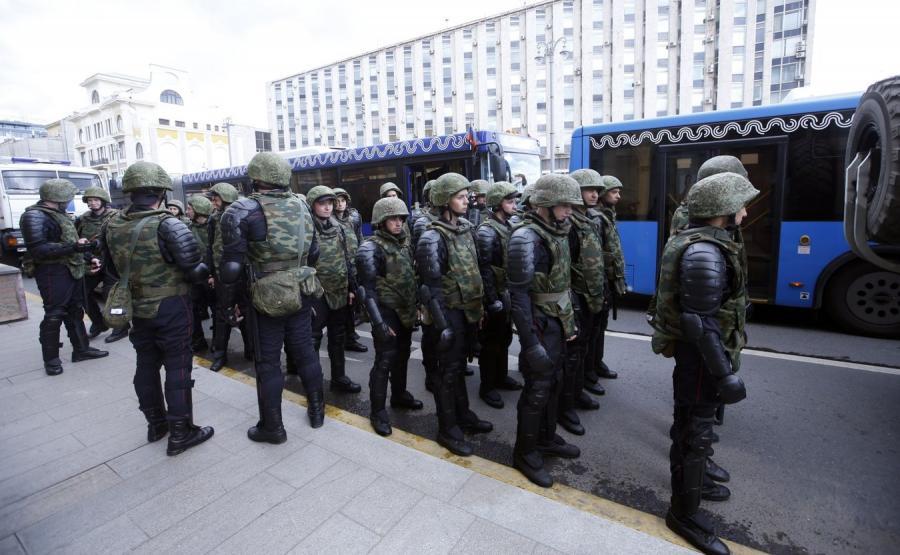 Członkowie rosyjskiej Gwardii Narodowej w Moskwie