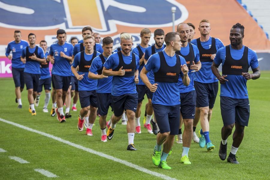 Zawodnicy Lecha Poznań podczas oficjalnego treningu przed meczem I rundy eliminacji Ligi Europejskiej z FK Pelister