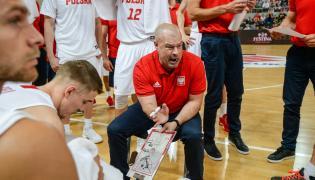 Trener reprezentacji Polski Mike Taylor podczas meczu towarzyskiego turnieju koszykarzy z Izraelem