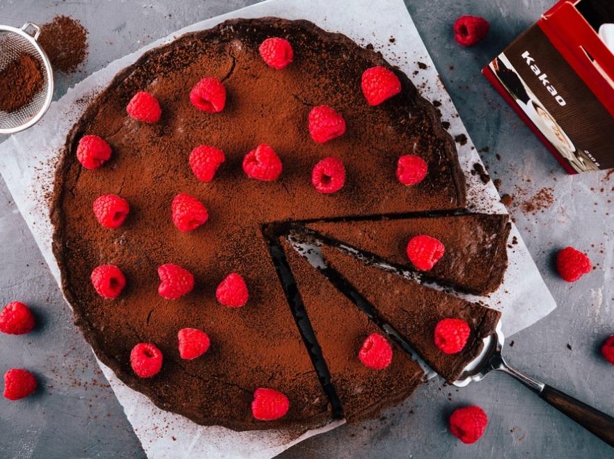 Wegetariańskie brownie z malinami