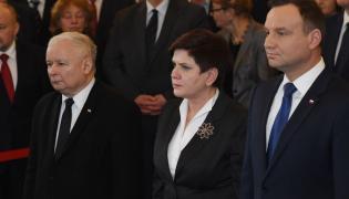Prezes PiS Jarosław Kaczyński, premier Beata Szydło i prezydent Andrzej Duda
