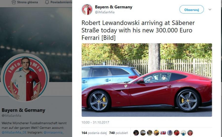 Robert Lewandowski i samochód Ferrari F12 Berlinetta