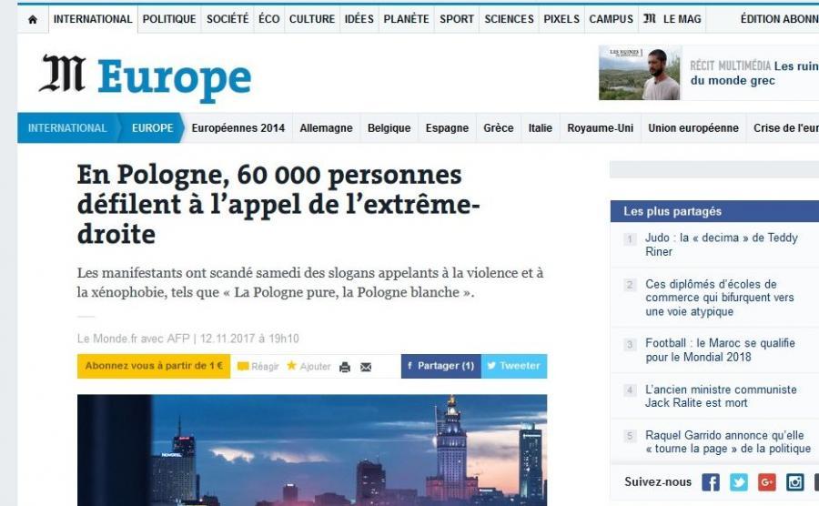 """""""Le Monde"""" o Marszu Niepodległości"""