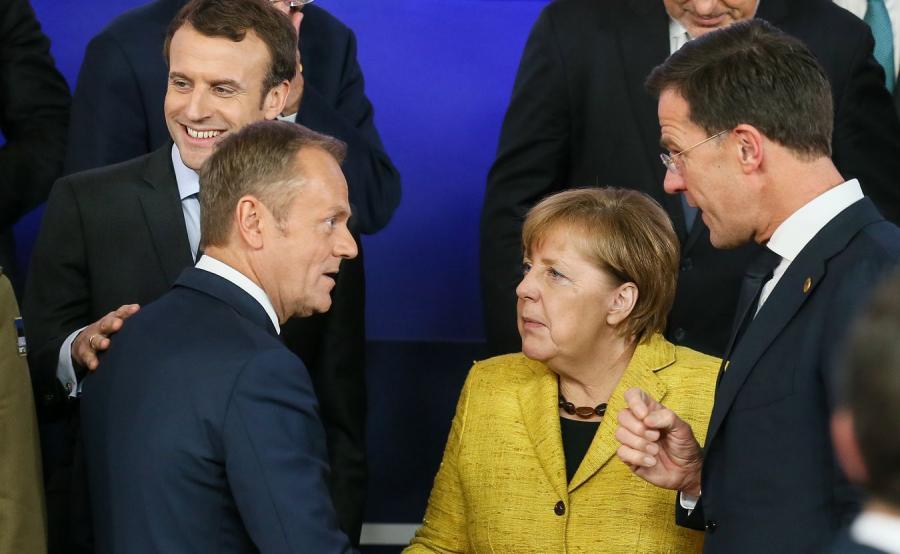 Emmanuel Macron, Donald Tusk, Angela Merkel i Mark Rutte