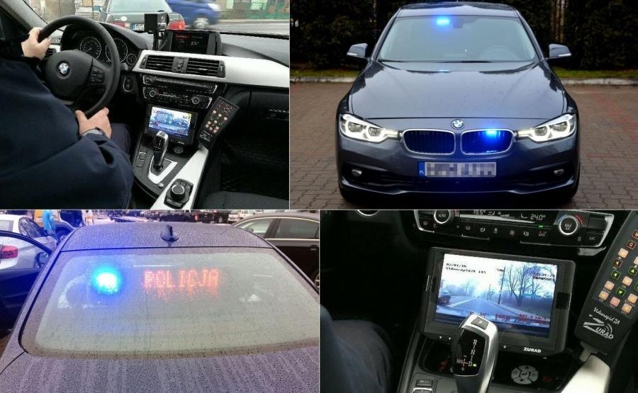 Policyjne BMW także uczestniczy w akcji \