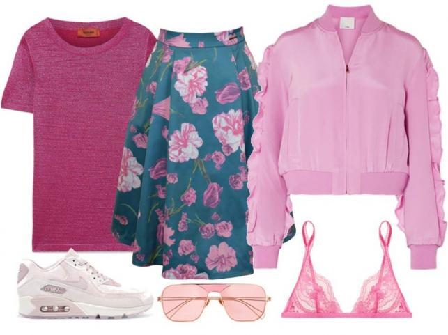 Różowe ubrania na wiosnę 2018: Spódnica-MoreMoi/moremoi.com, T-shirt, kurtka, dodatki-TK Maxx