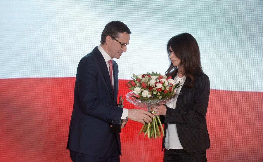 premier Mateusz Morawiecki i Marta Kaczyńska