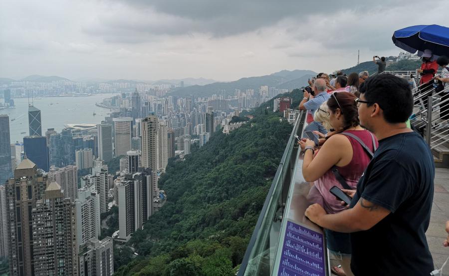 Widok na Hongkong z punktu widokowego na szczycie Wiktorii