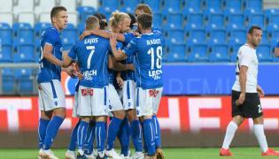 Zawodnicy Lecha Poznań cieszą się z bramki Christiana Gytkjaera strzelonej drużynie Gandzasar Kapan podczas meczu pierwszej rundy kwalifikacyjnej piłkarskiej Ligi Europejskiej UEFA