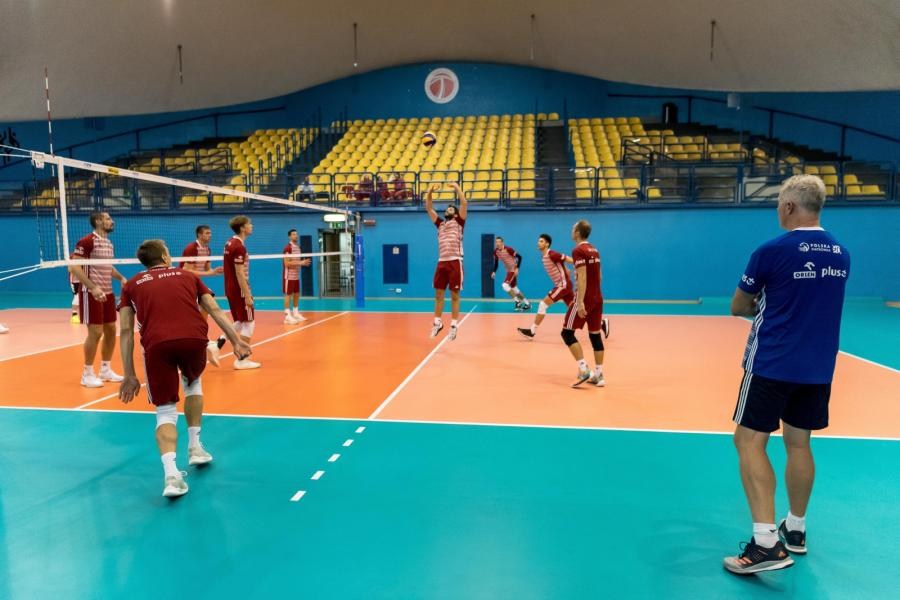 Siatkarze reprezentacji Polski podczas treningu w Turynie