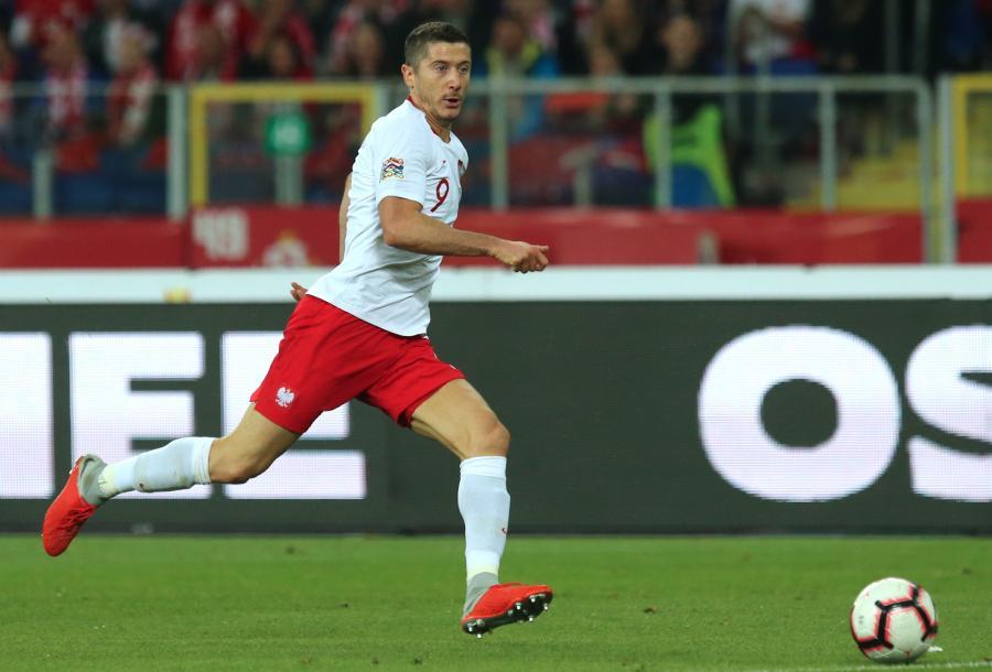 Zawodnik reprezentacji Polski Robert Lewandowski podczas meczu z Włochami w Lidze Narodów