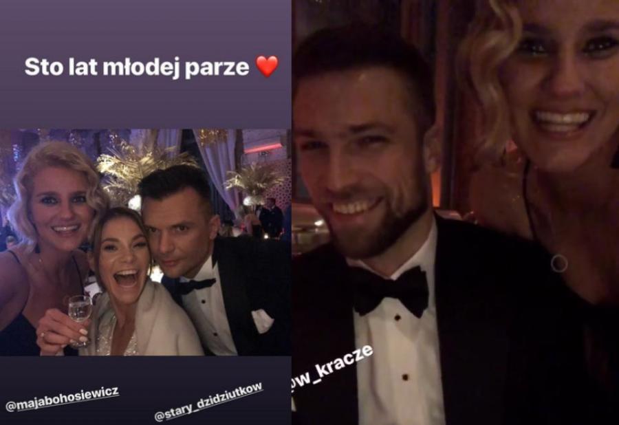 Zofia Zborowska i Andrzej Wrona na ślubie Mai Bohosiewicz