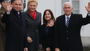 Andrzej Duda i Agata Kornhauser-Duda oraz Karen Pence i Michael Pence