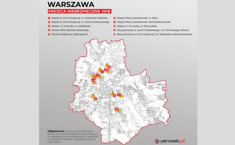10 najbardziej niebezpiecznych miejsc w Warszawie