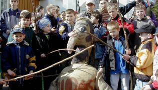 Kukła Judasza z Pruchnika (fotografia z 2002)