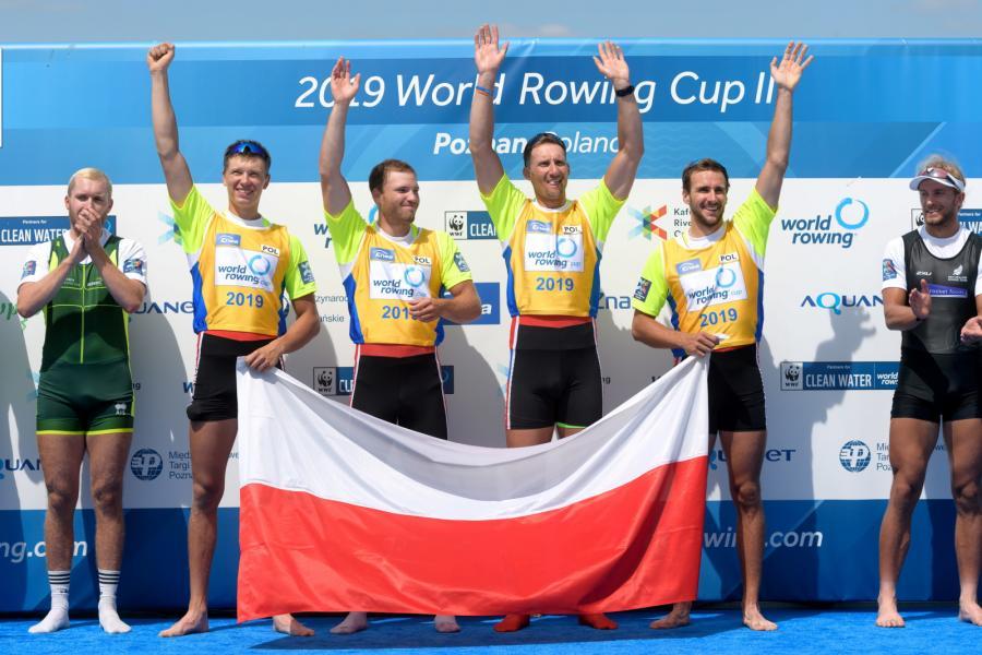 Polska czwórka podwójna - od lewej: Fabian Barański, Szymon Pośnik, Wiktor Chabel i Dominik Czaja