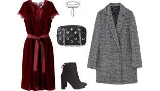 Nienudne STYLIZACJE na jesienną codzienność: sukienka, torebka, buty - LaRedoute.pl, marynarka - Zara, choker - Wishbone