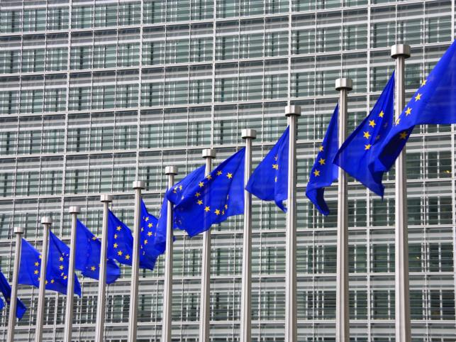 Flagi Unii w Brukseli