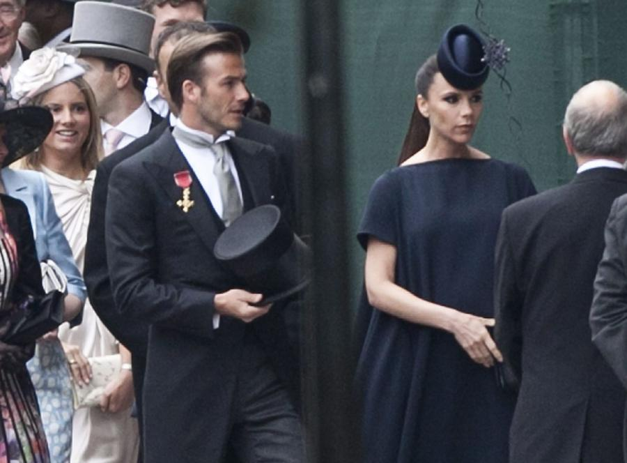 David Beckham i jego żona na ślubie Williama i Kate