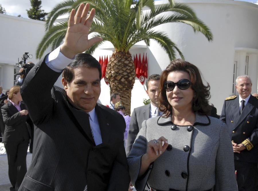Były prezydent Tunezji z żoną