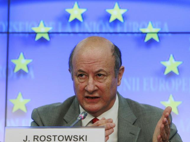 Mister Jacek Rostowski na konferencji w Brukseli