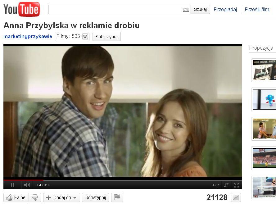 Anna Przybylska z Jarosławem Bieniukiem w reklamie drobiu