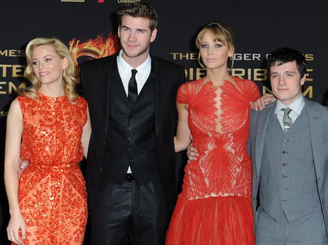 Elizabeth Banks, Liam Hemsworth i Jennifer Lawrence, Josh Hutcherson na premierze w Berlinie