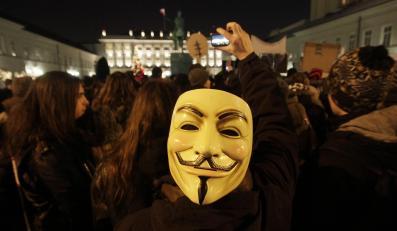 Protest przeciw umowie ACTA przed Pałacem Prezydenckim w Warszawie (styczeń 2012)