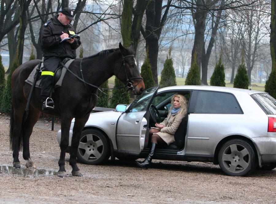 Joanna Liszowska złamała przepisy ruchu drogowego, ale dogonił ją policjant na koniu