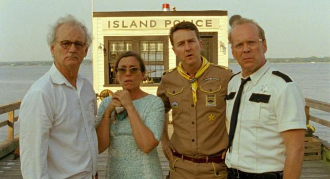 """Bill Murray, Frances McDormand, Edward Norton i Bruce Willis w filmie """"Kochankowie z Księżyca. Moonrise Kingdom"""""""