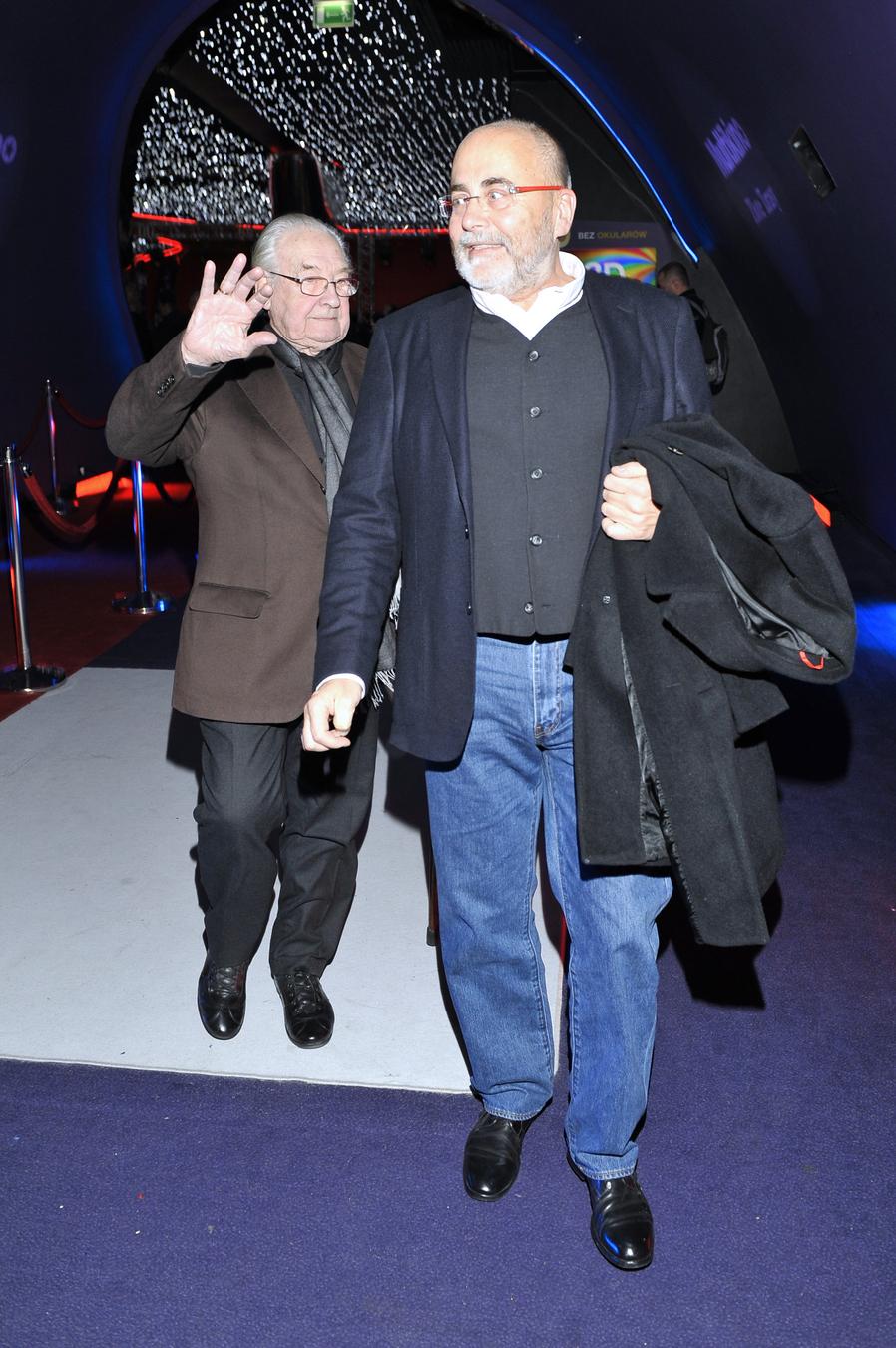 """Andrzej Wajda, Michał Kwieciński na premierze """"Drogówki"""""""