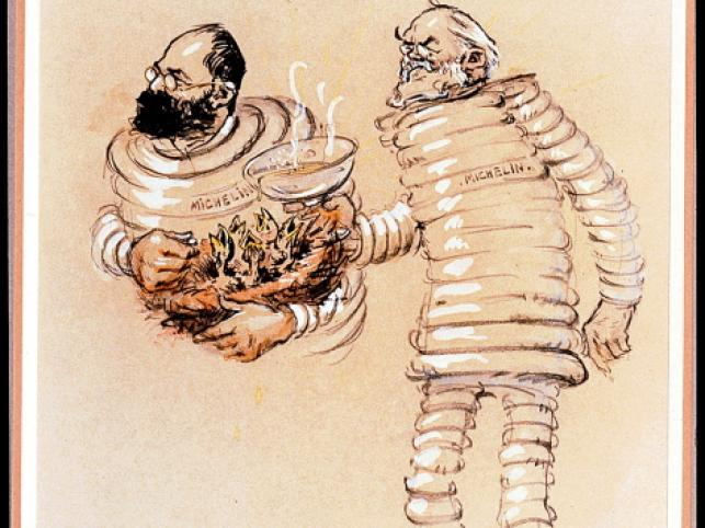 Karykatura - Edouard i Andre jako Bibendum