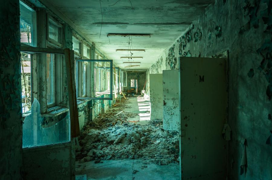 Opuszczony budynek w Prypeci niedaleko Czarnobyla