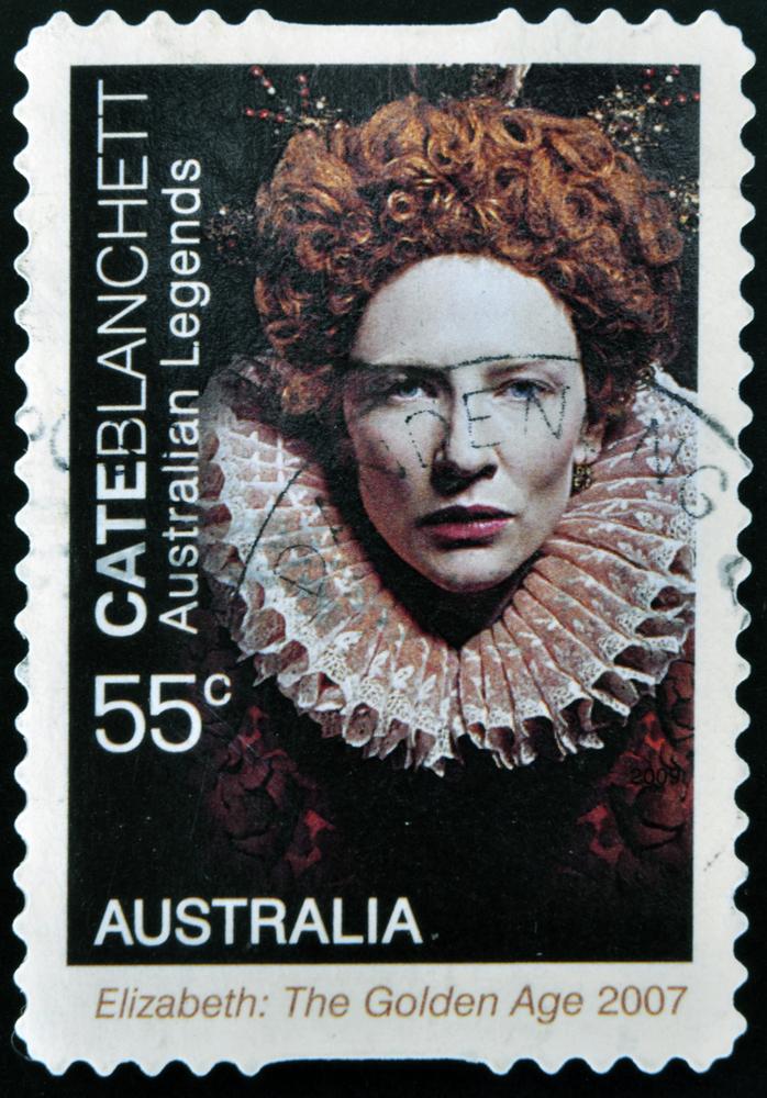 Cate Blanchett jako Elżbieta I na znaczku pocztowym
