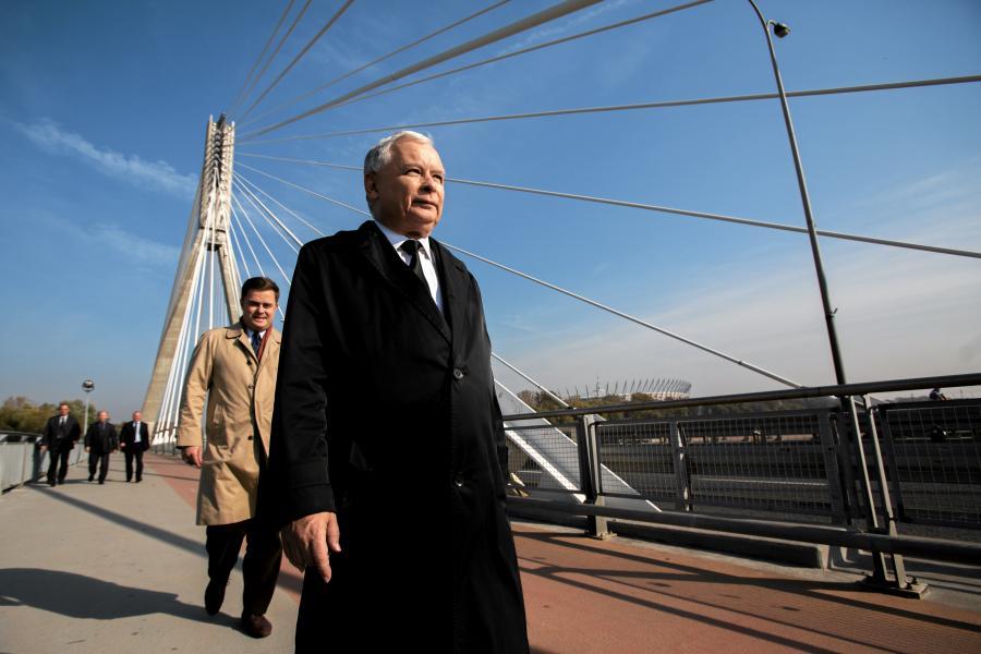 Jarosław Kaczyński na Moście Świętokrzyskim