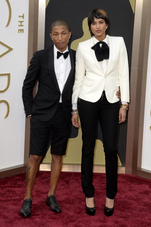 Pharrell Williams z żoną Helen Lasichanh na gali Oscarów