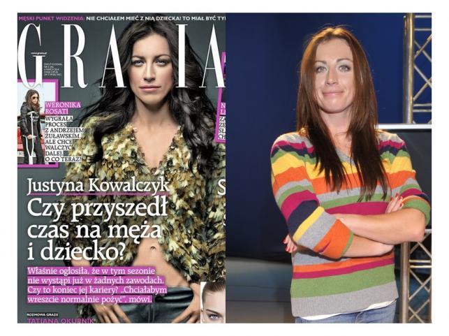 """Justyna Kowalczyk na okładce magazynu """"Grazia"""" i w rzeczywistości"""