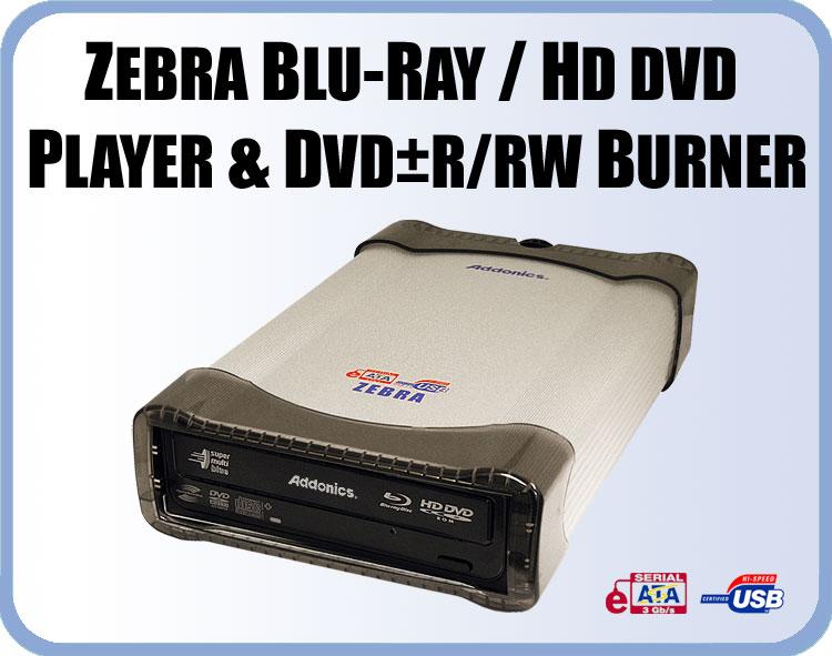Zebra jest najtańszym znanym nam podwójnym odtwarzaczem płyt dvd w formatach HD i Blu-ray (409$)