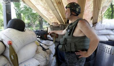 Ukraiński posterunek niedaleko Słowiańska