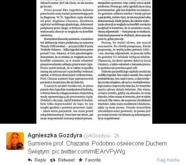 Tweet Agnieszki Gozdyry