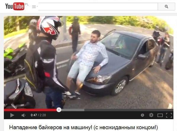 motocykliści atakują kierowcę