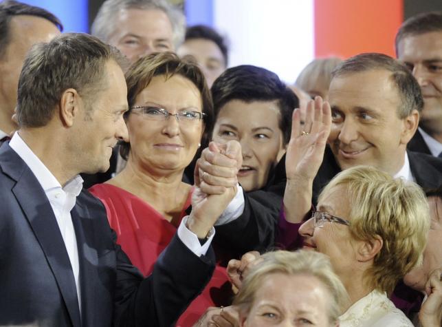 Donald Tusk, Ewa Kopacz, Hanna Gronkiewicz-Waltz i Grzegorz Schetyna