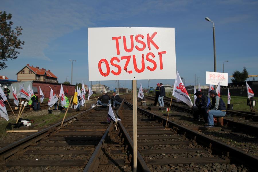 Protest górników na przejściu granicznym z Rosją