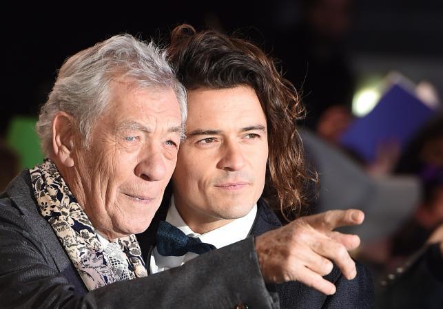 Ian McKellen i Orlando Bloom na premierze w Londynie