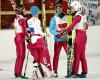 Radość Polaków. Polska drużyna, w składzie: Kamil Stoch (2L), Jan Ziobro (L), Klemens Murańka (P) i Piotr Żyła (2L), zdobyła brązowy medal mistrzostw świata w szwedzkim Falun, 28 bm. Polacy zajęli 3. miejsce w konkursie drużynowym na skoczni HS-134.