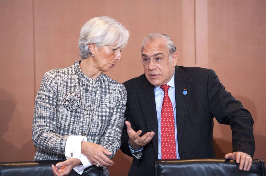 Christine Lagarde szefowa MFW i Jose Angel Gurria, szef OECD