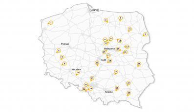 Mapa lokalizacji odcinkowego pomiaru średniej prędkości