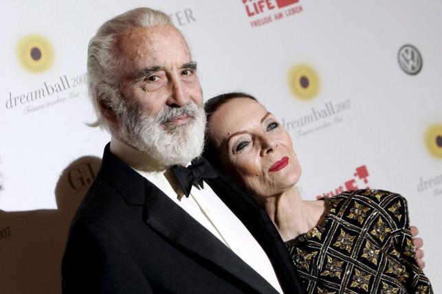 Christopher Lee z żoną Birgit Kroencke w 2007 roku