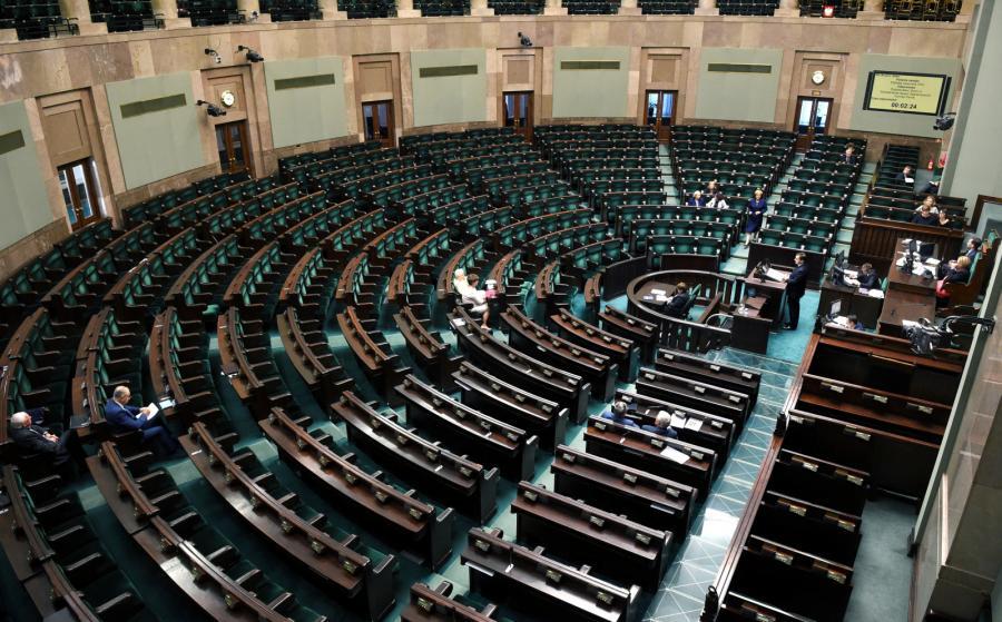 Sala obrad podczas drugiego dnia posiedzenia Sejmu
