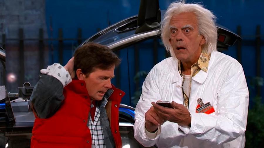 Christopher Lloyd i Michael J. Fox w programie \